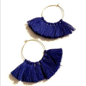 Blue fringe hoop earrings with gold hoops!